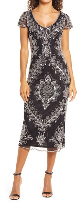 Pisarro Nights Beaded Cap Sleeve Midi Dress