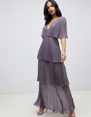 Asos Design DESIGN soft pleated tiered maxi dress-Multi