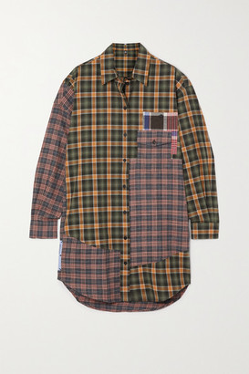 McQ End Of Line Oversized Checked Cotton Mini Shirt Dress - Green