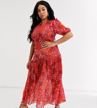 Never Fully Dressed Plus puff sleeve midi dress in red floral print