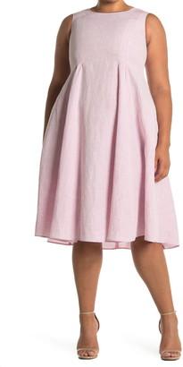 Lafayette 148 New York Pamina Fit & Flare Knee Length Linen Dress