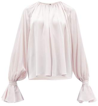 Roksanda Pia Fluted-cuff Silk Blouse - Womens - Light Pink