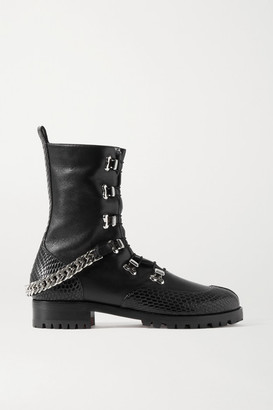 Christian Louboutin 20 Chain-embellished Smooth And Lizard-effect Leather Ankle Boots - Black