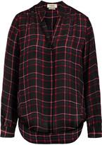 L'Agence Bianca plaid silk shirt