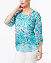 JM Collection Petite Floral-Print Three-Quarter-Sleeve Top, Only at Macy's