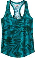 Joe Fresh Women's Print Racerback Active Tank, Teal (Size L)