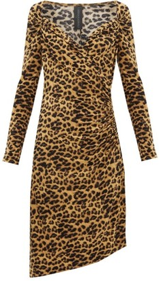 Norma Kamali Sweetheart-neck Leopard-print Jersey Dress - Womens - Leopard