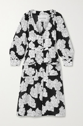 DYVNA Floral-print Silk Crepe De Chine Dress - Black