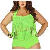 HFY Womens Plus Size Retro High Waist Two Piece Bikini Halter Swimwear (XXXL, )