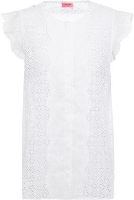 Kate Spade Broderie Anglaise Ramie And Cotton-blend Top