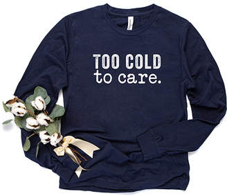 Simply Sage Market Women's Tee Shirts Navy - Navy & White 'Too Cold to Care' Long-Sleeve Tee - Women