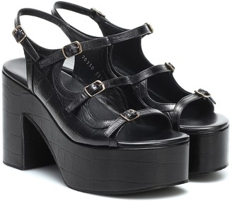 Dries Van Noten Croc-effect leather platform sandals