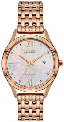 Citizen Eco-Drive Mother of Pearl Date Dial Gold Stainless Steel Bracelet Ladies Watch