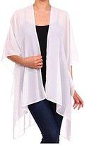 TC Solid Sheer Chiffon Kimono Cardigan in White Color
