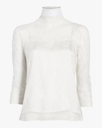 ADAM by Adam Lippes Chantilly Lace Turtleneck and Cami Set