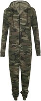 Outofgas Womens Zip Up Hooded Camouflage Army Print Celebrity All In One Jumpsuit Onesie