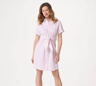 Denim & Co. Petite Seersucker Tie Front Shirt Dress