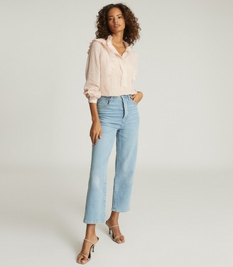 Reiss TAYLOR RUFFLE DETAILED BLOUSE Nude