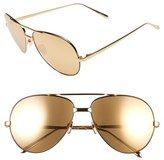 Linda Farrow 59mm 24 Karat Gold Trim Aviator Sunglasses