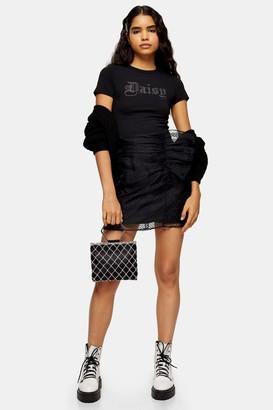 Topshop Womens Black Organza Spot Ruffle Mini Skirt - Black