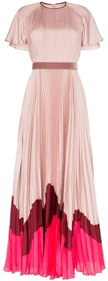 Roksanda Zari pleated contrast hem silk dress