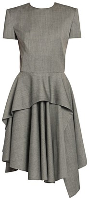 Alexander McQueen Sharkskin Wool Peplum Dress