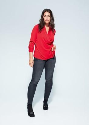 MANGO Violeta BY Wrap bow t-shirt red - S - Plus sizes