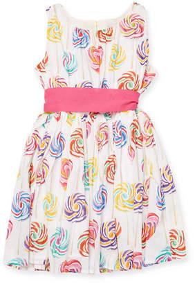 Halabaloo Lollipop Print Shirred Bodice Dress