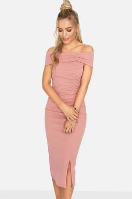 Girls On Film Sweet Thing Ruched Bardot Dress