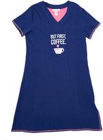 Rene Rofe Navy 'But First Coffee' V-Neck Sleep Lounge Dress