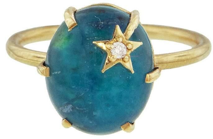 Andrea Fohrman Chrysocolla and Clear Quartz Mini Star Ring - Yellow Gold