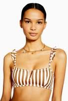 Topshop Womens Tan Striped V-Wire Bikini Crop Top - Tan