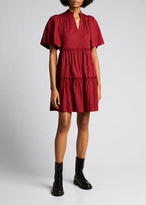 Sea Tivoli Ruffle-Trim Crinkle Dress