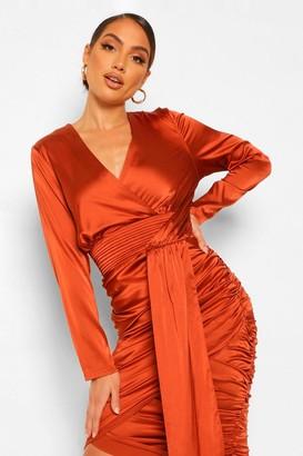 boohoo Satin Drape Ruched Midi Dress