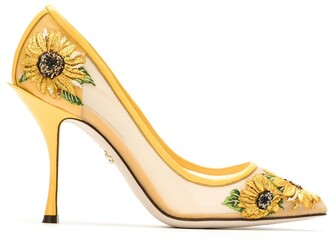 Dolce & Gabbana Sunflower Embroidery Mesh Pumps