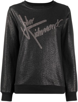 John Richmond Metallic Logo Print Sweatshirt