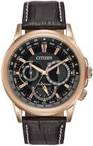 Citizen Eco-Drive Calendrier Black Dial Day-Date Rose Gold Tone Case Dark Brown Leather Strap Mens W