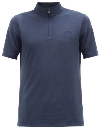 Iffley Road Sidmouth Half-zip Pique T-shirt - Mens - Navy