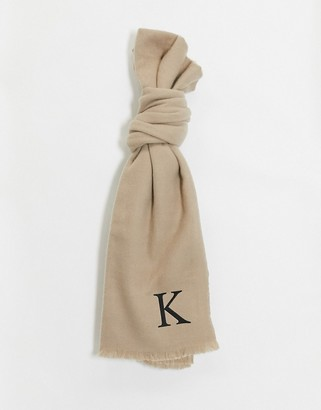 ASOS DESIGN personalised scarf with initial K-Brown