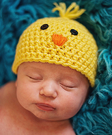 Jean Marie Yellow & Orange Chick Crochet Beanie - Infant
