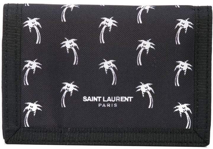 Saint Laurent palm tree buffalo compact wallet