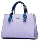 Bagtopia Women's PU Leather Top-handle Handbag and Purse OL Casual Tote Crossbody Bag with Silk Decor