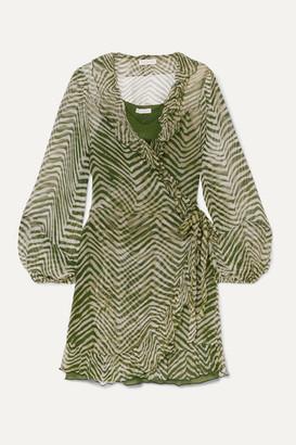 CLOE CASSANDRO Net Sustain Kimi Ruffled Zebra-print Silk-crepon Wrap Mini Dress - Army green