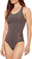 Speedo Heather Thick Strap One Piece Swimsuit