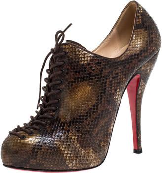 Christian Louboutin Brown/Black Python Lace Trous Booties Size 38