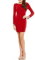 Jodi Kristopher Faux-Pearl Beaded-Cuff Sheath Dress