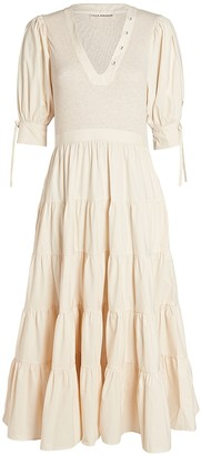 Ulla Johnson Wilda Tiered Cotton Midi Dress
