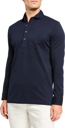 Ralph Lauren Purple Label Men's Washed Long-Sleeve Pocket Polo Shirt, Navy