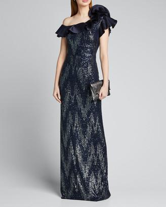 Rickie Freeman For Teri Jon Zig Zag Sequin One-Shoulder Ruffle-Trim Column Gown
