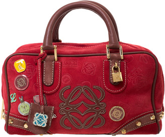 Loewe Red/Brown Suede and Leather Amazona 28 Satchel